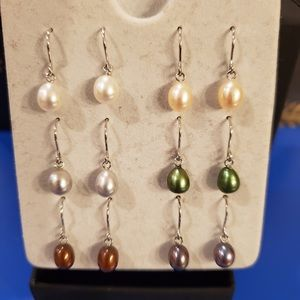 Set of Six Pairs of Cultured Pearl Earrings